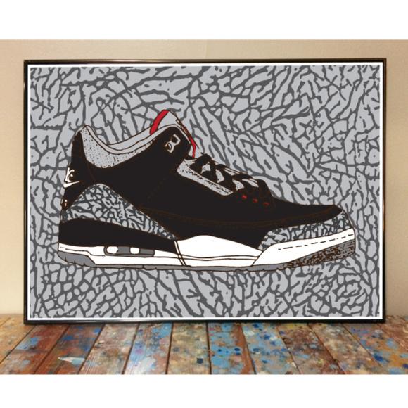 7a977612f6e LETMEDRAWYOURPICTURE Shoes | 11x17 Air Jordan 3 Black Cement Drawing ...